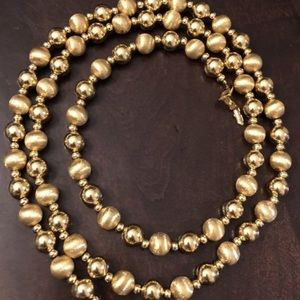 1980s NAPIER Polished & Etched Gold Tone Necklace